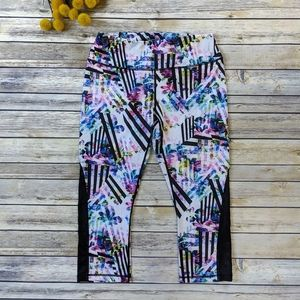 Reebok Floral Patterned Cropped Capri Legg…
